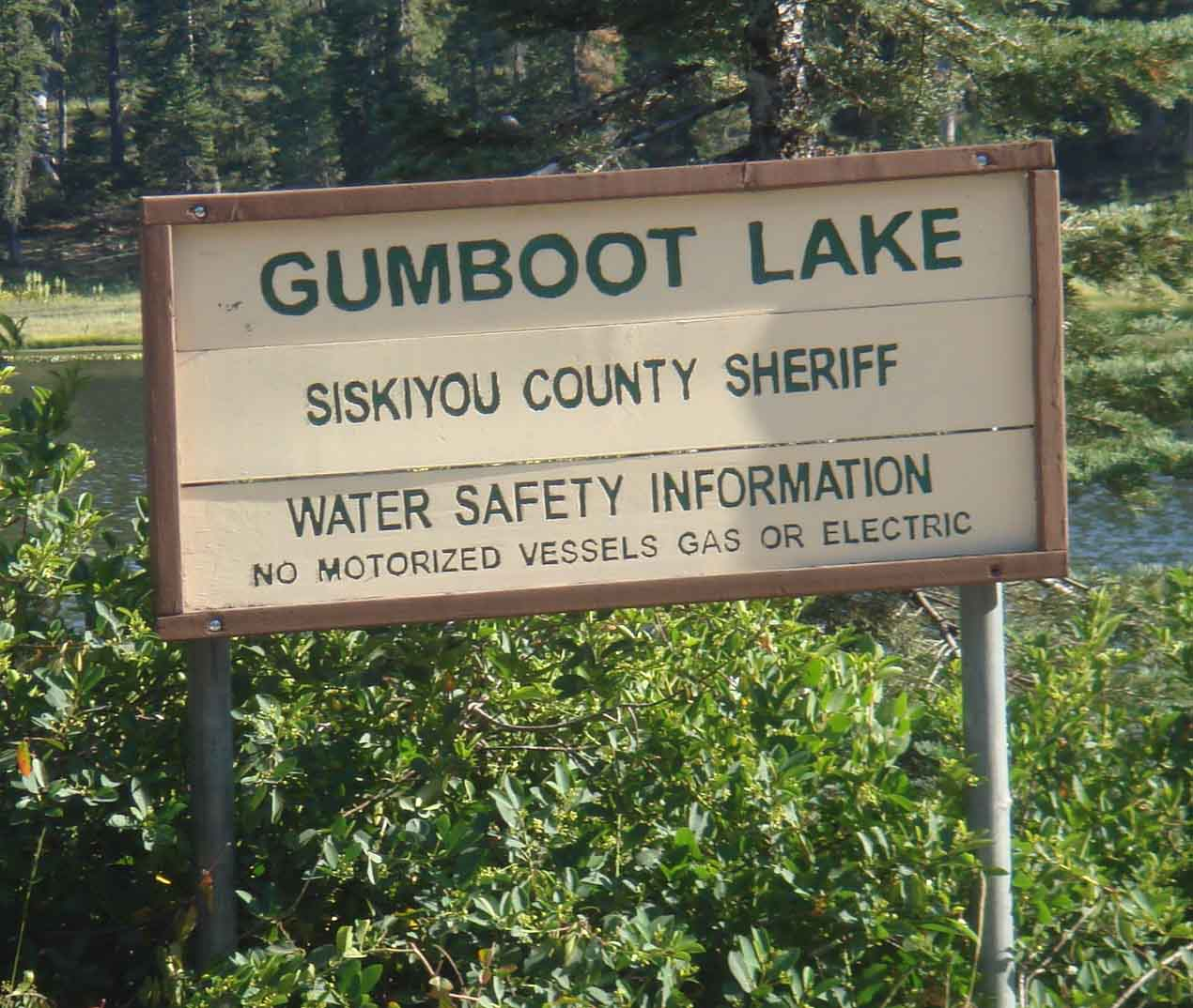 Gumboot Lake Sheriff's Warning