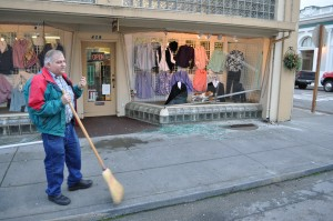 Owner Dale Stemwedel sweeps at Lentz Dept. Store.